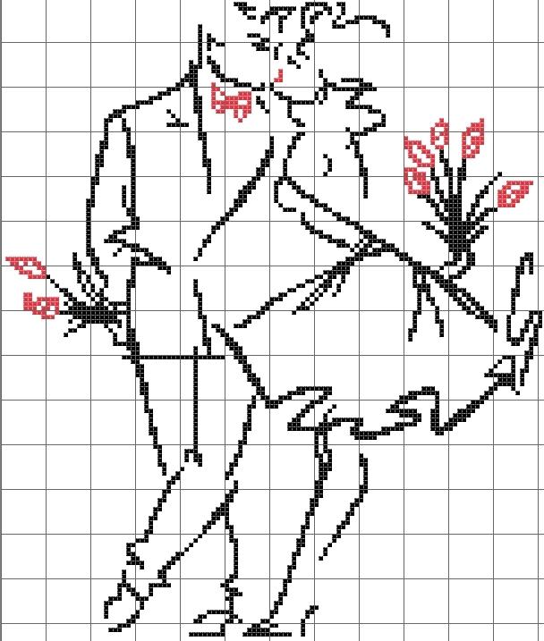 как нарисовать по клеткам поцелуй9