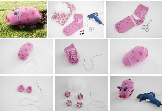 поделка свинка, свинья своими руками, мягкая игрушка свинка, как сшить свинью из носка, свинка из носка