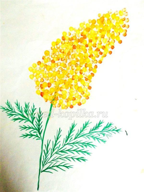 Рисунок мимоза ватными палочками 8 марта