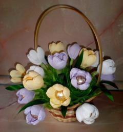 Как сделать букет тюльпанов из конфет своими
