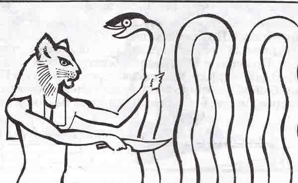 как египтяне именовали кота и змея изображённых на рисунке