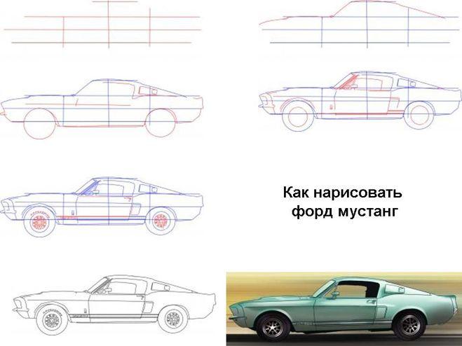 как нарисовать машину ford mustang