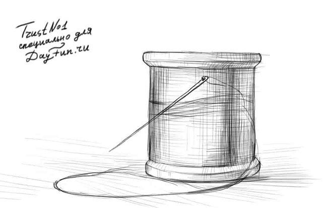 как нарисовать шпулю поэтапно карандашом