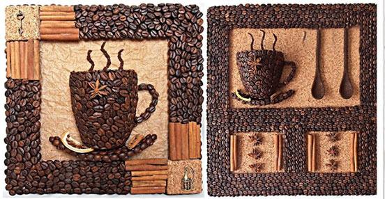 Панно из кофейных зерен на кухне своими руками