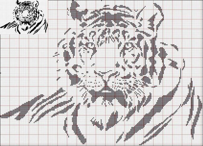 Вышивка крестом черно белая тигр