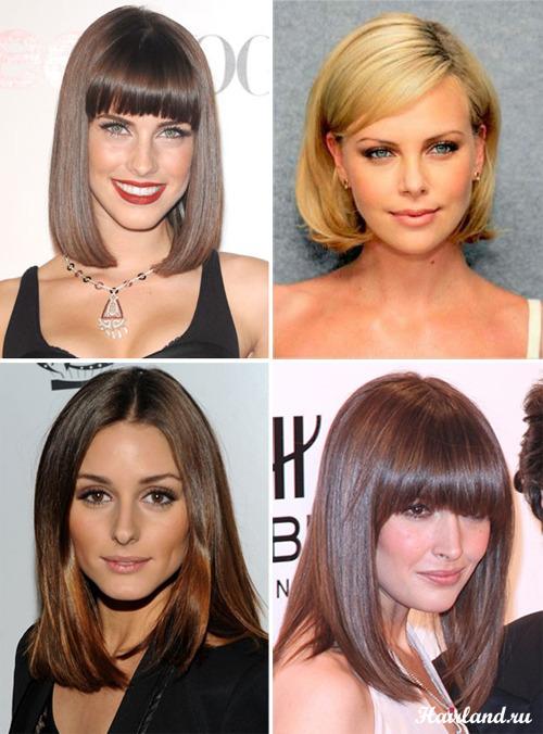 Прически и стрижки для средних волос с челкой8