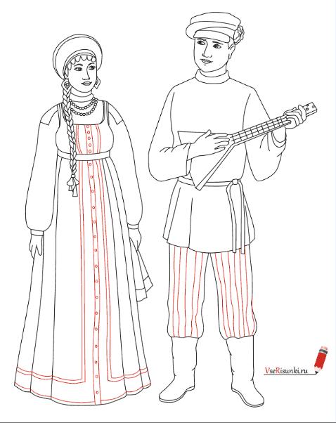 Как нарисовать русский народный костюм карандашом c562e9b56bdbd