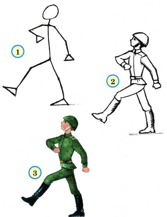 Как поэтапно нарисовать солдата