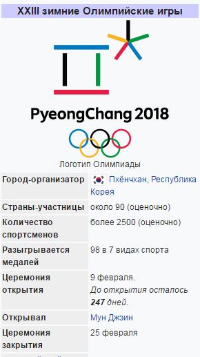 Когда начнется зимняя олимпиада 2018