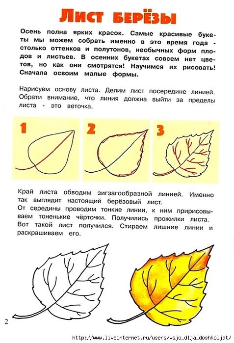 Рисование листьев 1 класс поэтапно
