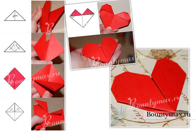 Открытка сердечко своими руками оригами