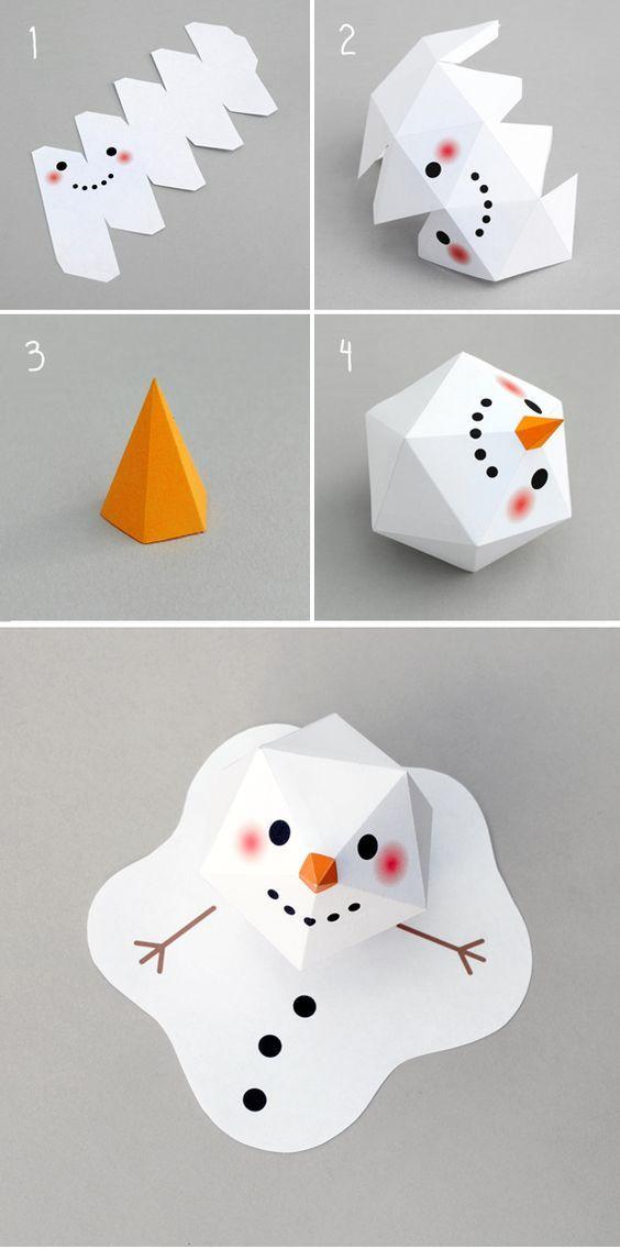 снеговик на Новый год в технике паперкрафт своими руками