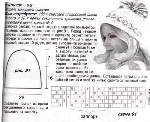 вязать рисунок на шапку ребенку