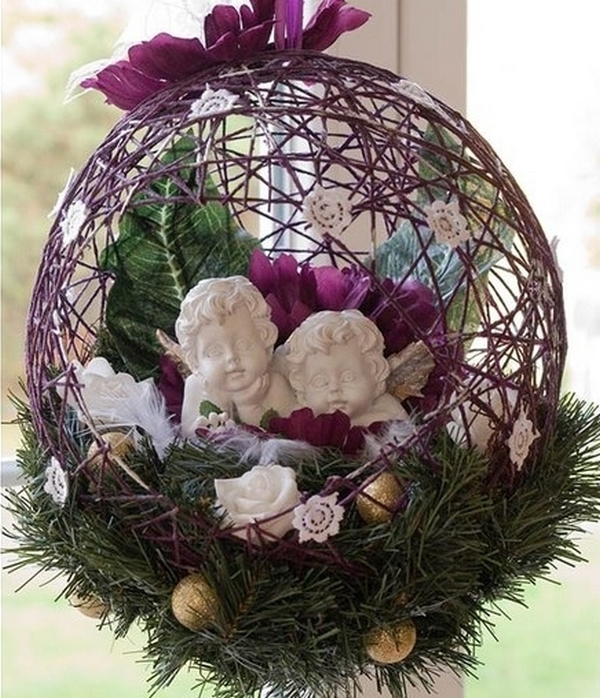 Поделки новогодние из шариков и ниток своими руками