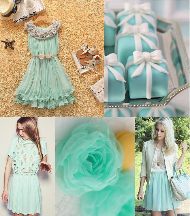 Нежно мятный цвет платья