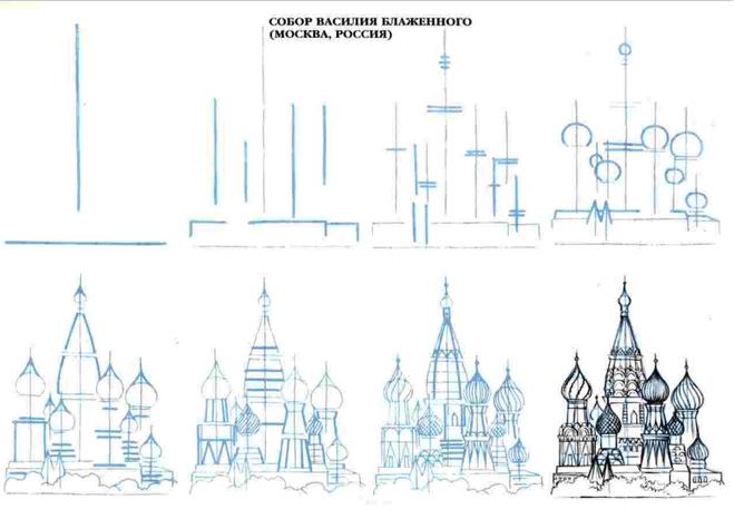 Как нарисовать достопримечательности москвы карандашом поэтапно