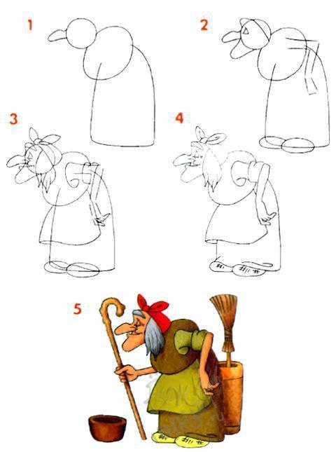 Как нарисовать бабу ягу своими руками 87