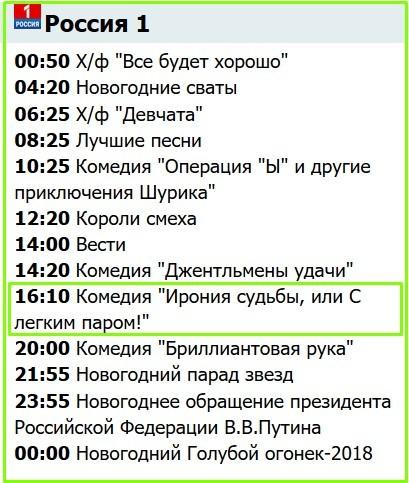 тв программа россия 1 31 декабря 2017