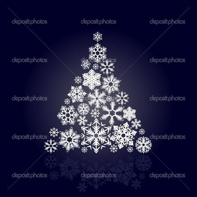 елка из снежинок