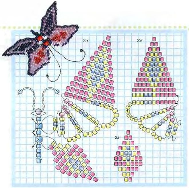 Как сделать из бисера бабочку для начинающих схемы