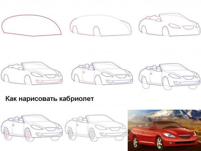 Рисуем машину в картинках поэтапно