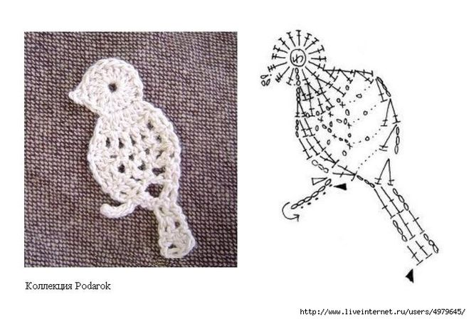 Птицы крючком с описанием и схемами