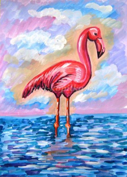 как нарисовать фламинго поэтапно для детей 7-9 лет мастер-класс гуашь