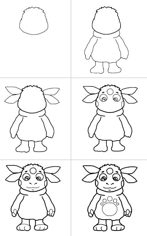 Как нарисовать пошагово лунтика