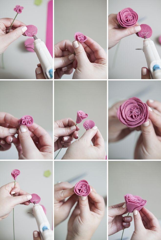 Как сделать из цветы из фетра своими руками 361