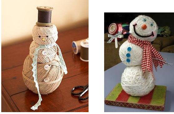 Снеговик из клубков ниток