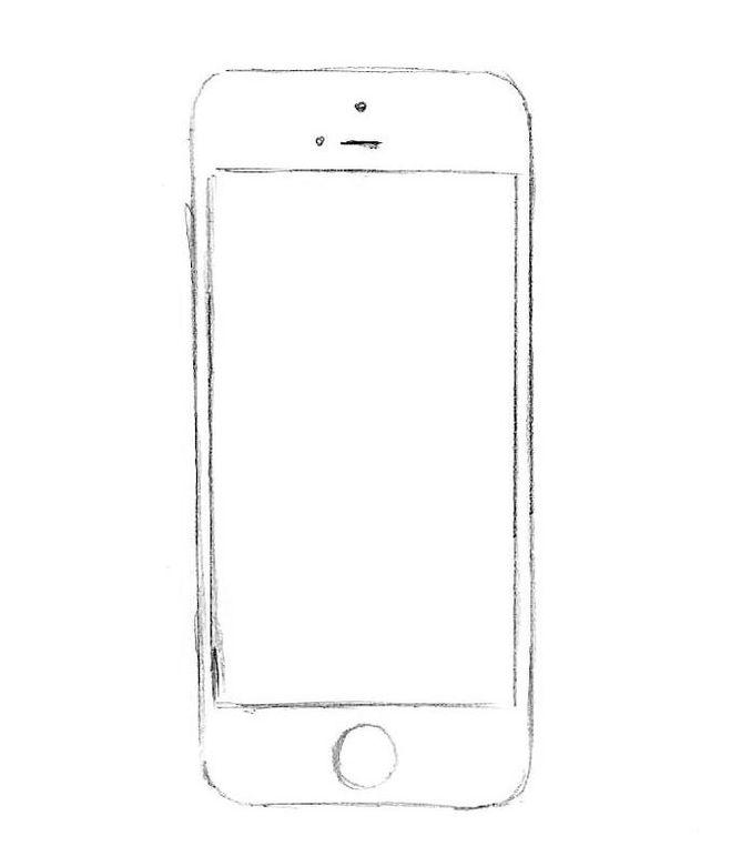 картинки как нарисовать телефон айфон