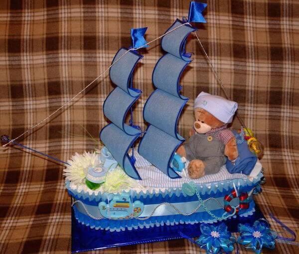 Корабль из памперсов пошагово