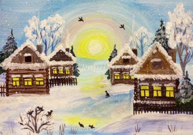 рисунок зимнее утро поэтапно для детей мастер-класс