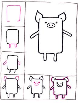 детский поэтапный рисунок с поросенком