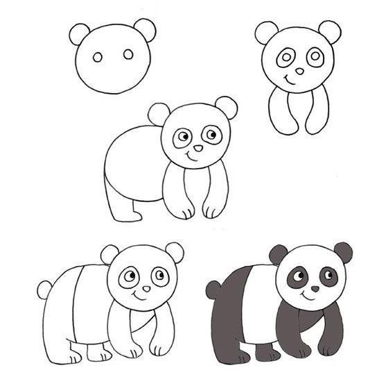 Как нарисовать большую панду поэтапно карандашом