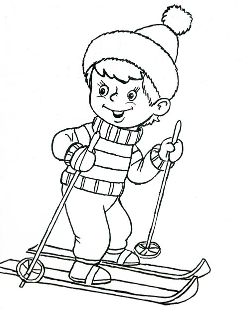Как нарисовать мальчика на лыжах