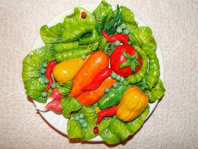 Поделки овощи и фрукты из солёного теста 641