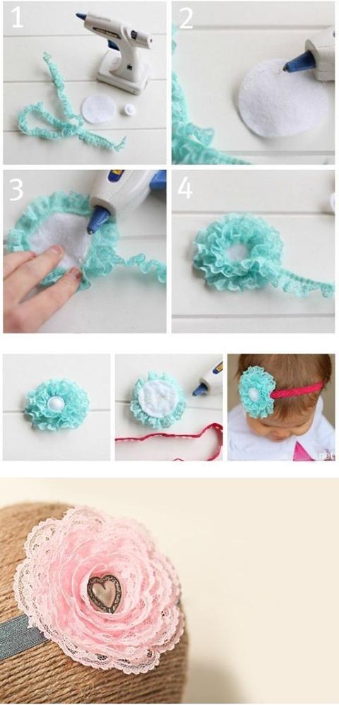 цветы из ткани для повязки на голову своими руками