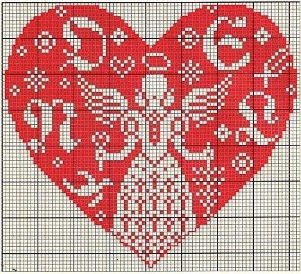 ангел с сердцем вышивка крестиком на день Святого Валентина схема