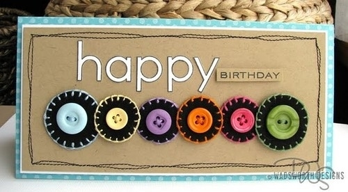 Открытки  день рождения пуговицы 162