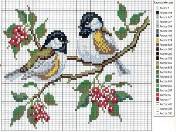 Схема вышивка бисером птицы