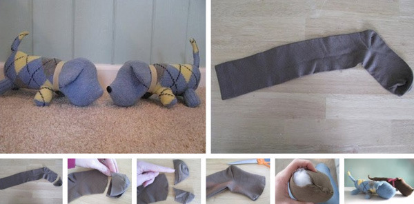 собака из носка пошагово