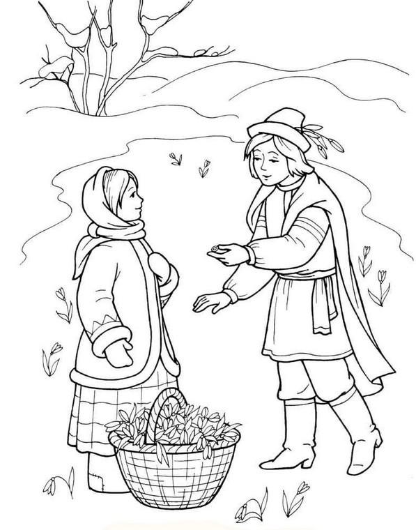 Картинки весны детские сказки черно белая
