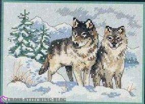 схема вышивки пара волков