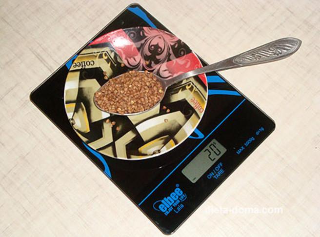 Сколько калорий в одной столовой ложке гречки?