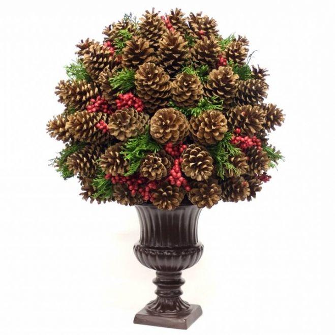 Большие напольные деревья из шишек и цветов 122