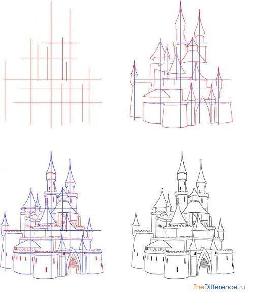 Как нарисовать поэтапно карандашом здания