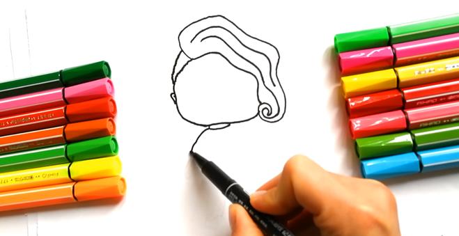Нирисовать куклу ЛОЛ поэтапно цветными карандашами Картинка рисунок рисуем