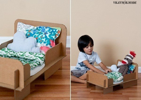 Как сделать кровать из бумаги для барби