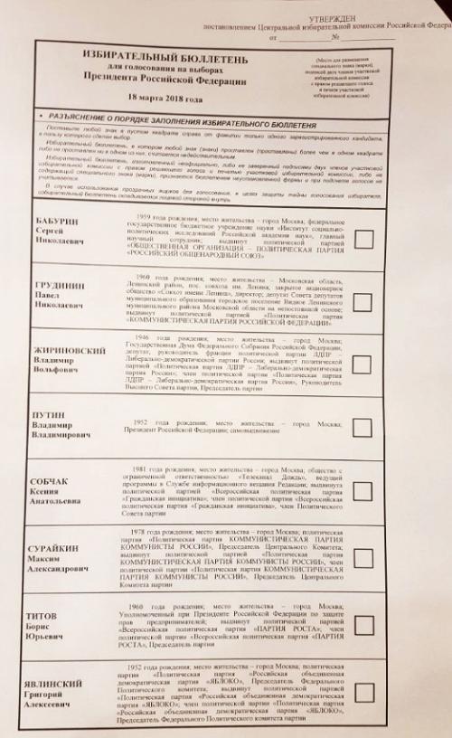 бюллетень на выборы президента 18 марта 2018